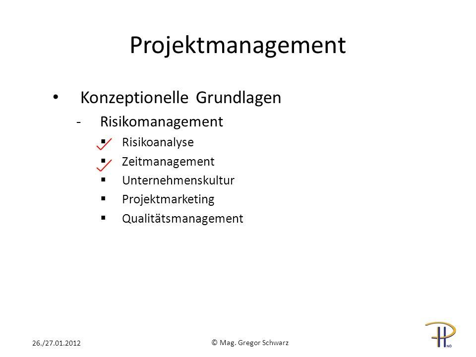 Projektmanagement Konzeptionelle Grundlagen -Risikomanagement Risikoanalyse Zeitmanagement Unternehmenskultur Projektmarketing Qualitätsmanagement © M