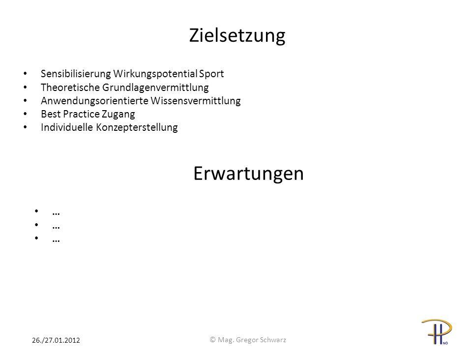 Zielsetzung Sensibilisierung Wirkungspotential Sport Theoretische Grundlagenvermittlung Anwendungsorientierte Wissensvermittlung Best Practice Zugang Individuelle Konzepterstellung © Mag.