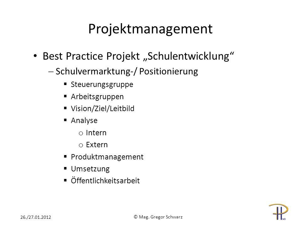 © Mag. Gregor Schwarz 26./27.01.2012 Best Practice Projekt Schulentwicklung Schulvermarktung-/ Positionierung Steuerungsgruppe Arbeitsgruppen Vision/Z