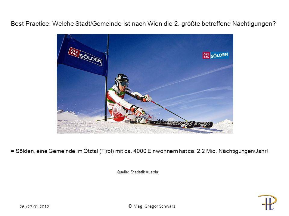 Quelle: Statistik Austria Best Practice: Welche Stadt/Gemeinde ist nach Wien die 2. größte betreffend Nächtigungen? = Sölden, eine Gemeinde im Ötztal