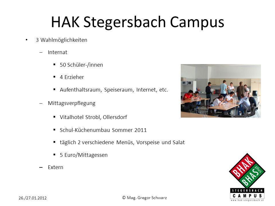 HAK Stegersbach Campus 3 Wahlmöglichkeiten Internat 50 Schüler-/innen 4 Erzieher Aufenthaltsraum, Speiseraum, Internet, etc. Mittagsverpflegung Vitalh