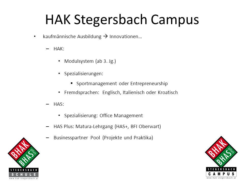 kaufmännische Ausbildung Innovationen… – HAK: Modulsystem (ab 3. Jg.) Spezialisierungen: Sportmanagement oder Entrepreneurship Fremdsprachen: Englisch