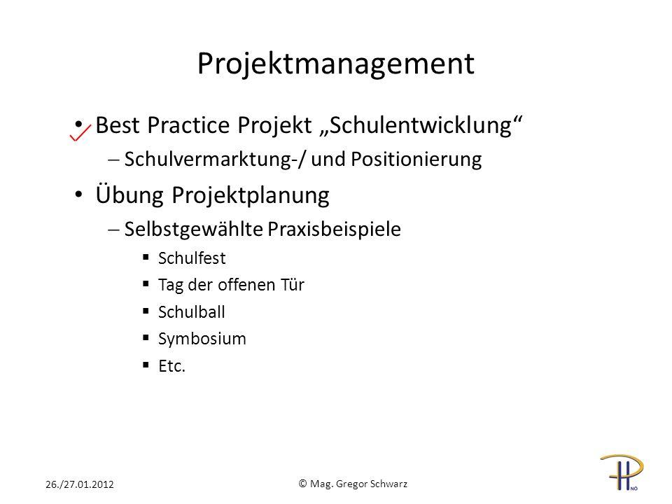 Projektmanagement Best Practice Projekt Schulentwicklung Schulvermarktung-/ und Positionierung Übung Projektplanung Selbstgewählte Praxisbeispiele Sch