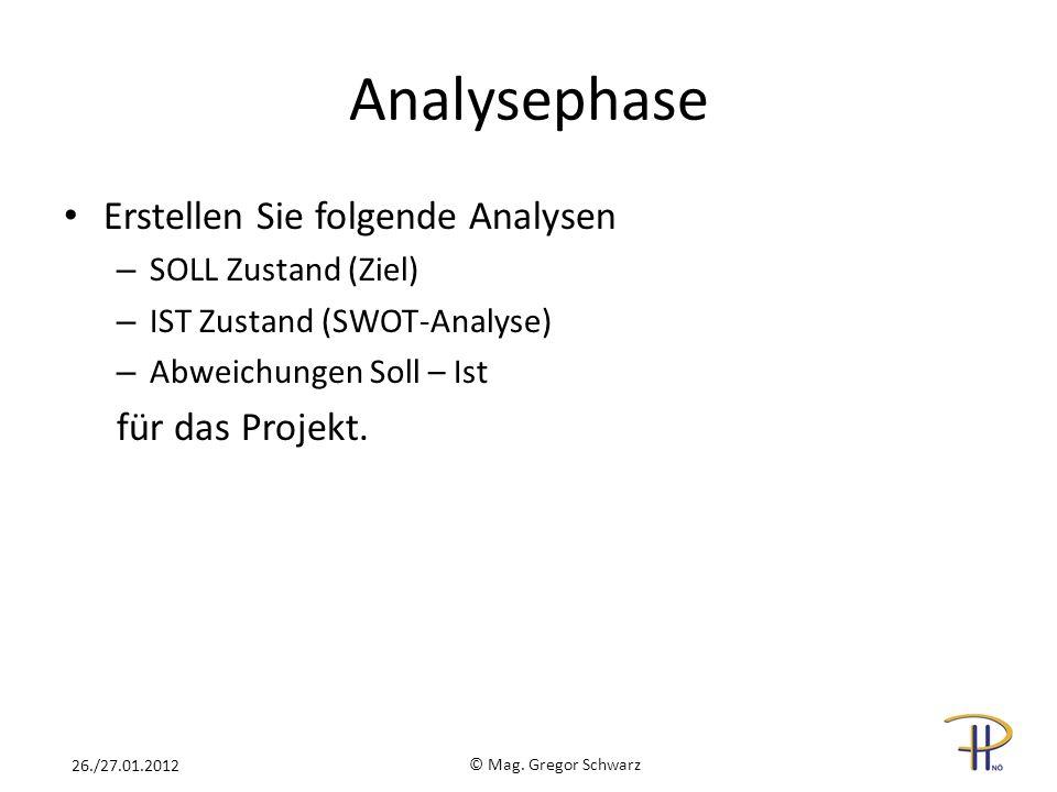 Analysephase Erstellen Sie folgende Analysen – SOLL Zustand (Ziel) – IST Zustand (SWOT-Analyse) – Abweichungen Soll – Ist für das Projekt. © Mag. Greg