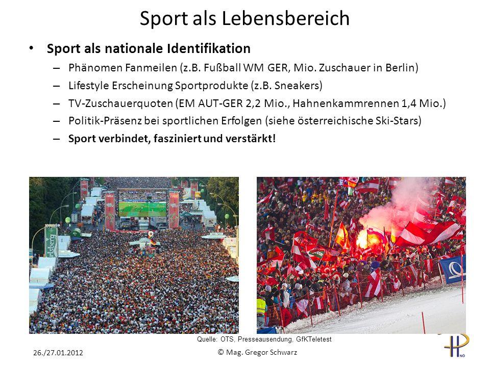Sport als nationale Identifikation – Phänomen Fanmeilen (z.B. Fußball WM GER, Mio. Zuschauer in Berlin) – Lifestyle Erscheinung Sportprodukte (z.B. Sn