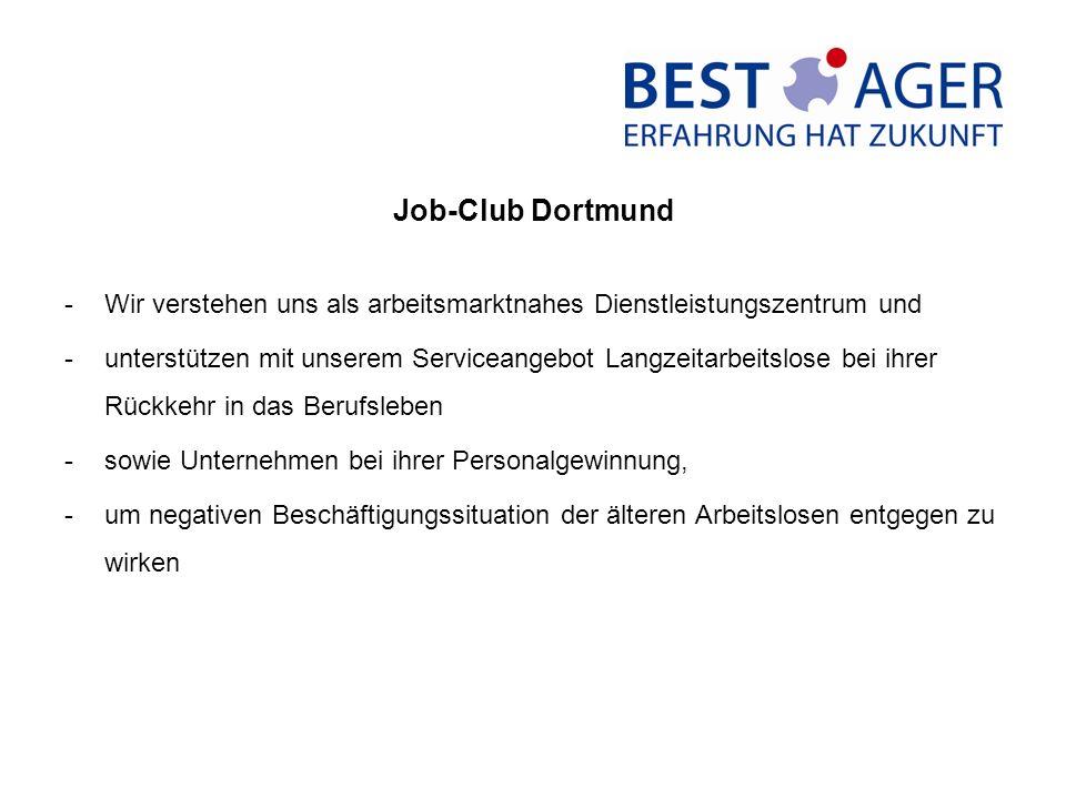 Job-Club Dortmund -Wir verstehen uns als arbeitsmarktnahes Dienstleistungszentrum und -unterstützen mit unserem Serviceangebot Langzeitarbeitslose bei ihrer Rückkehr in das Berufsleben -sowie Unternehmen bei ihrer Personalgewinnung, -um negativen Beschäftigungssituation der älteren Arbeitslosen entgegen zu wirken