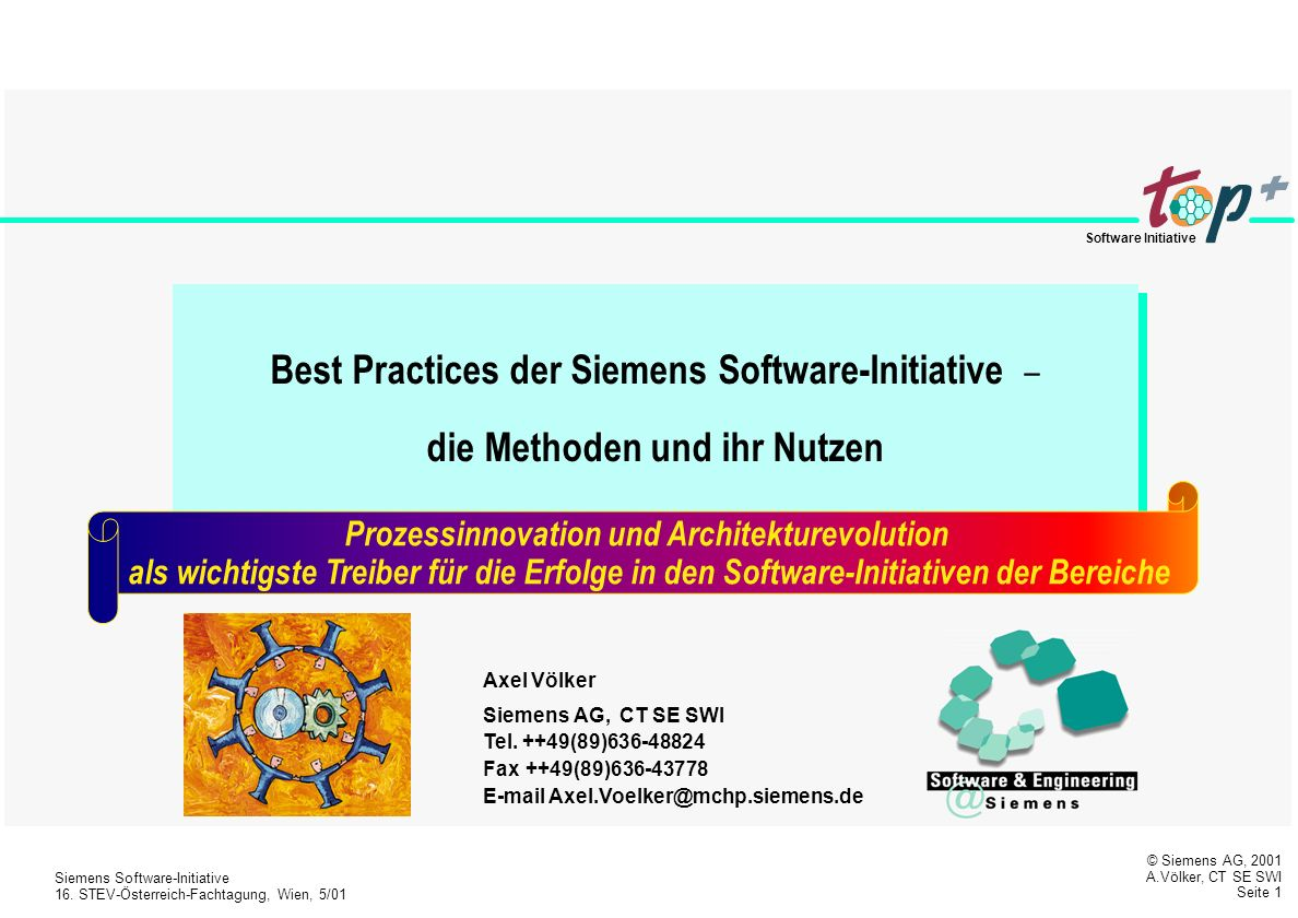 © Siemens AG, 2001 A.Völker, CT SE SWI Seite 1 Siemens Software-Initiative 16.
