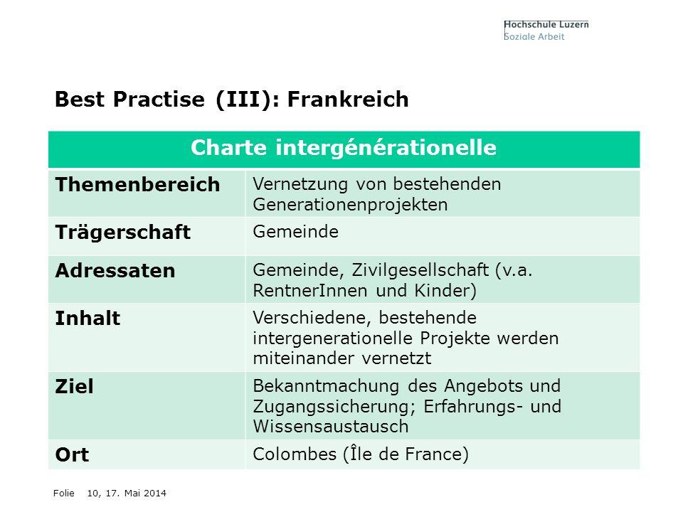 Folie10, 17. Mai 2014 Best Practise (III): Frankreich Charte intergénérationelle Themenbereich Vernetzung von bestehenden Generationenprojekten Träger