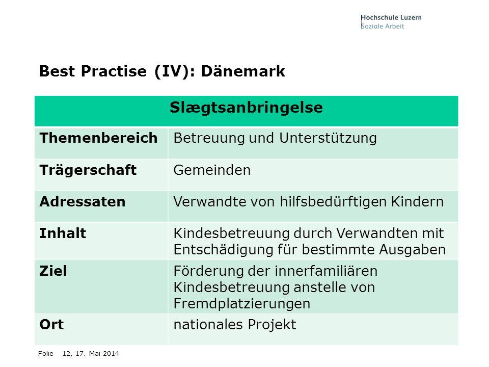 12, 17. Mai 2014 Best Practise (IV): Dänemark Slægtsanbringelse ThemenbereichBetreuung und Unterstützung TrägerschaftGemeinden AdressatenVerwandte von