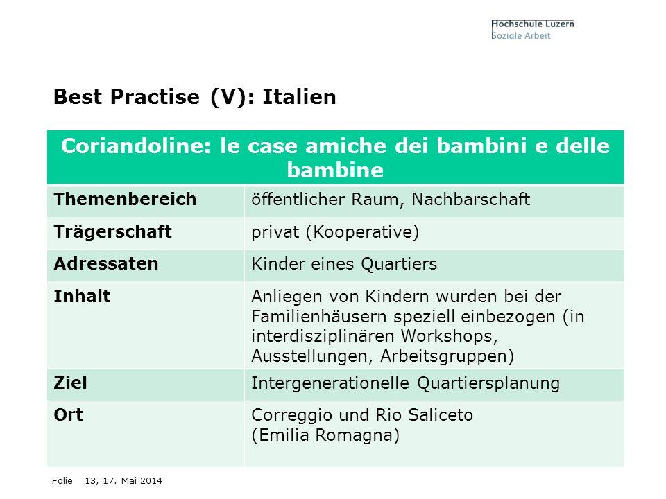 Folie13, 17. Mai 2014 Best Practise (V): Italien Coriandoline: le case amiche dei bambini e delle bambine Themenbereichöffentlicher Raum, Nachbarschaf