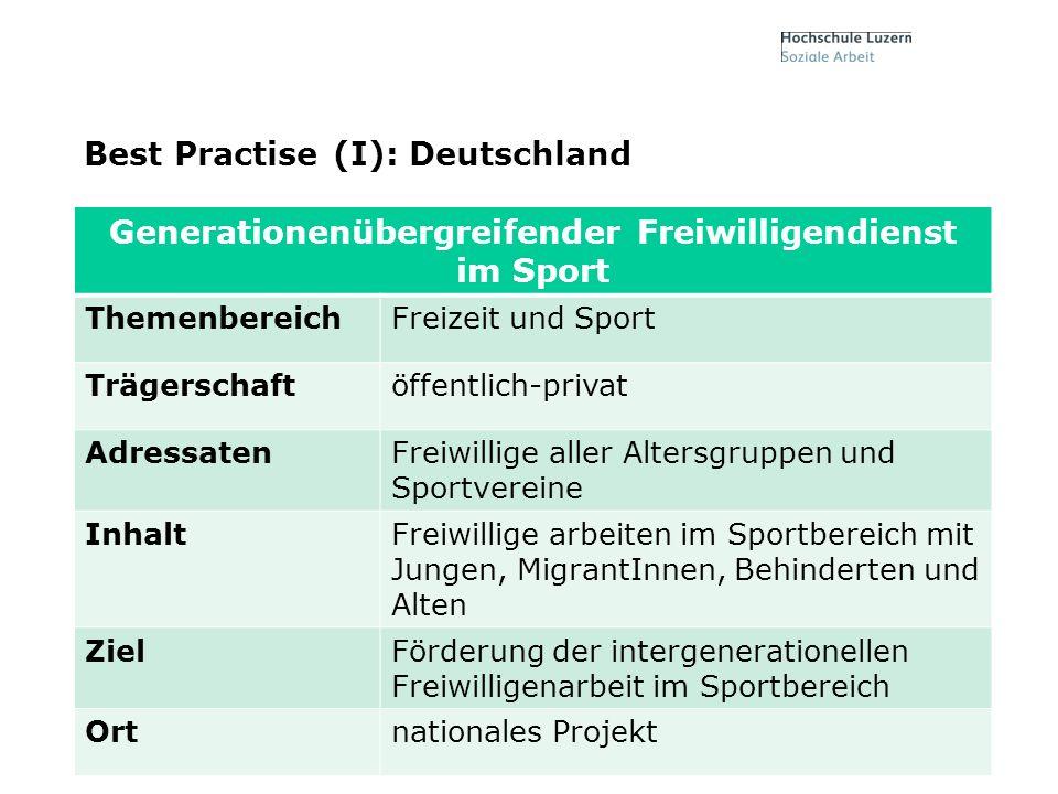 Folie7, 17. Mai 2014 Best Practise (I): Deutschland Generationenübergreifender Freiwilligendienst im Sport ThemenbereichFreizeit und Sport Trägerschaf
