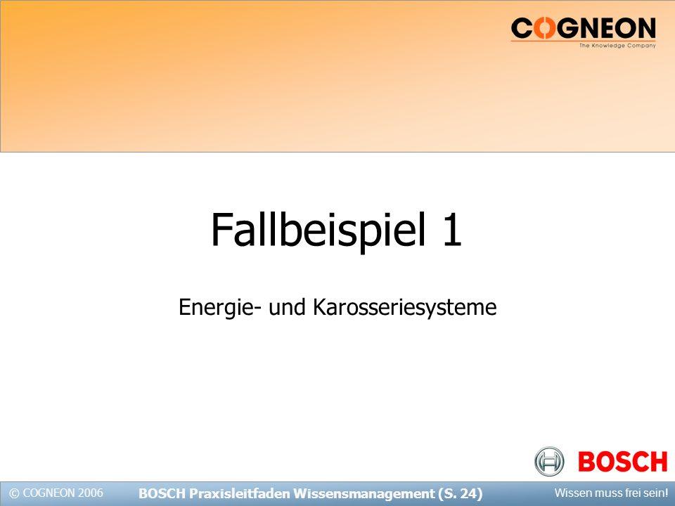 © COGNEON 2006 Wissen muss frei sein.BOSCH Praxisleitfaden Wissensmanagement (S.