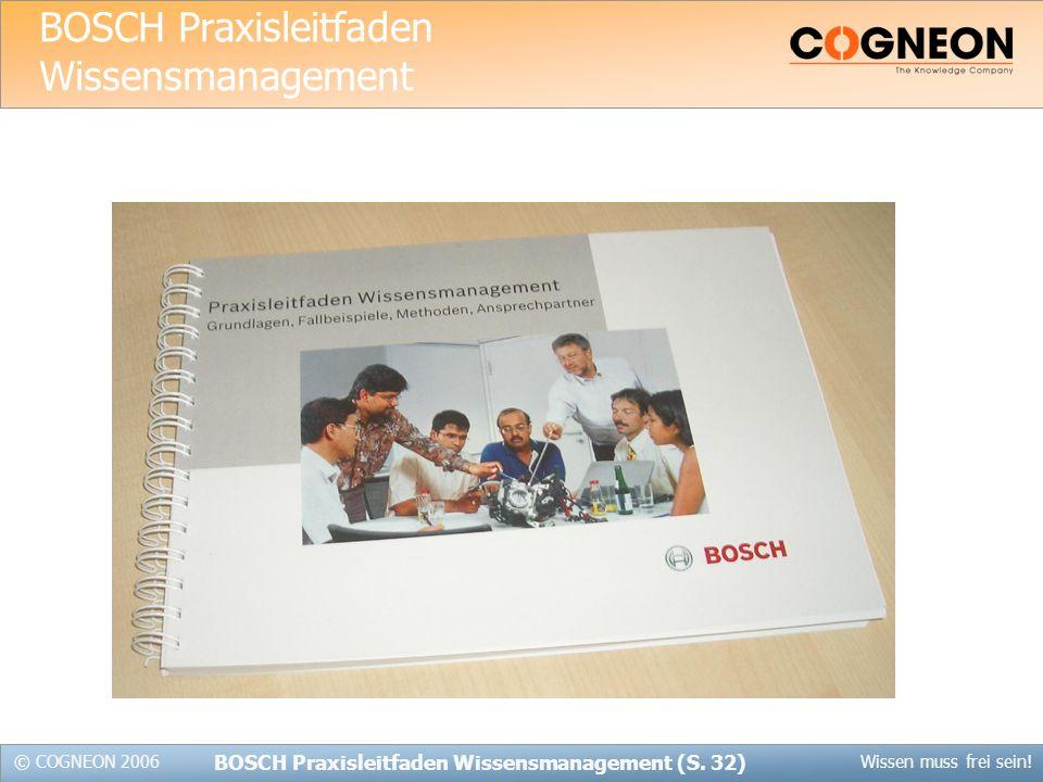© COGNEON 2006Wissen muss frei sein.BOSCH Praxisleitfaden Wissensmanagement (S.