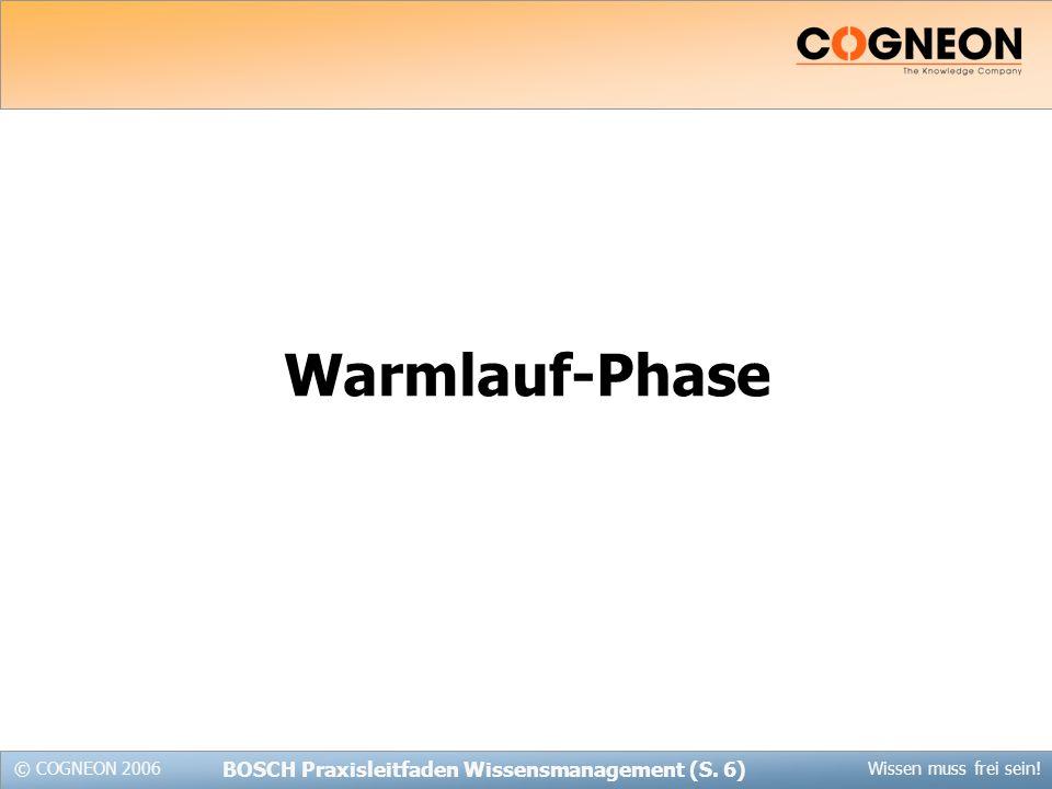 © COGNEON 2006Wissen muss frei sein! BOSCH Praxisleitfaden Wissensmanagement (S. 6) Warmlauf-Phase