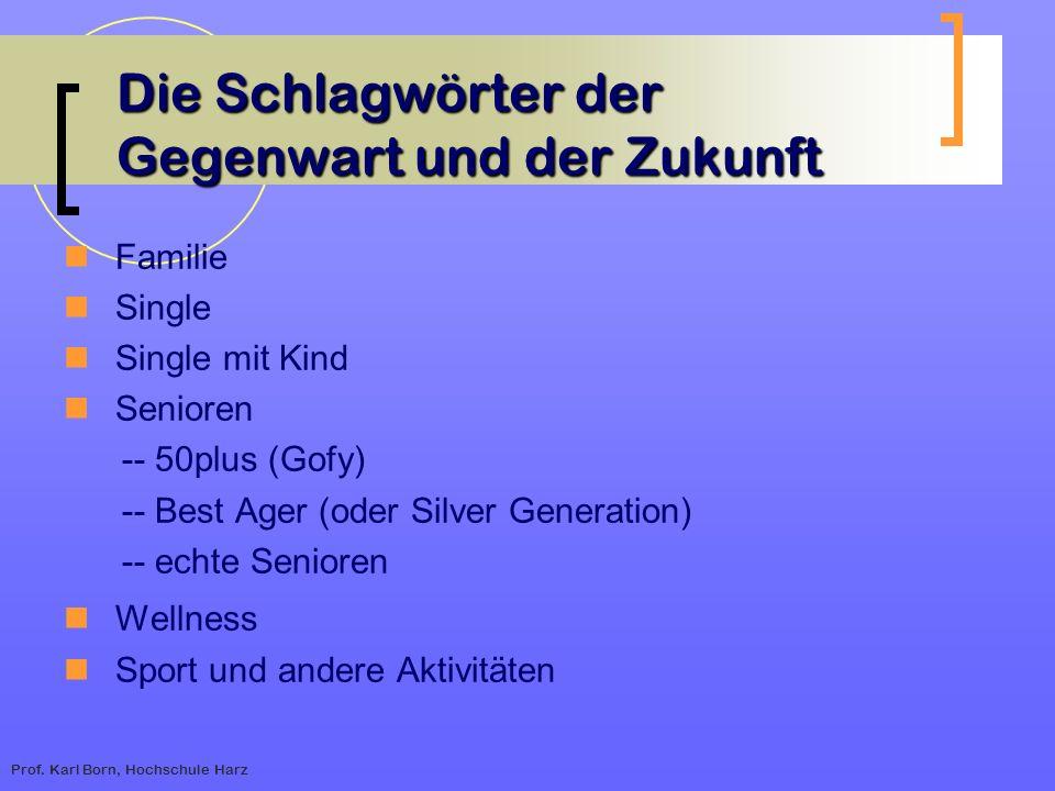 Prof. Karl Born, Hochschule Harz Die Schlagwörter der Gegenwart und der Zukunft Familie Single Single mit Kind Senioren -- 50plus (Gofy) -- Best Ager
