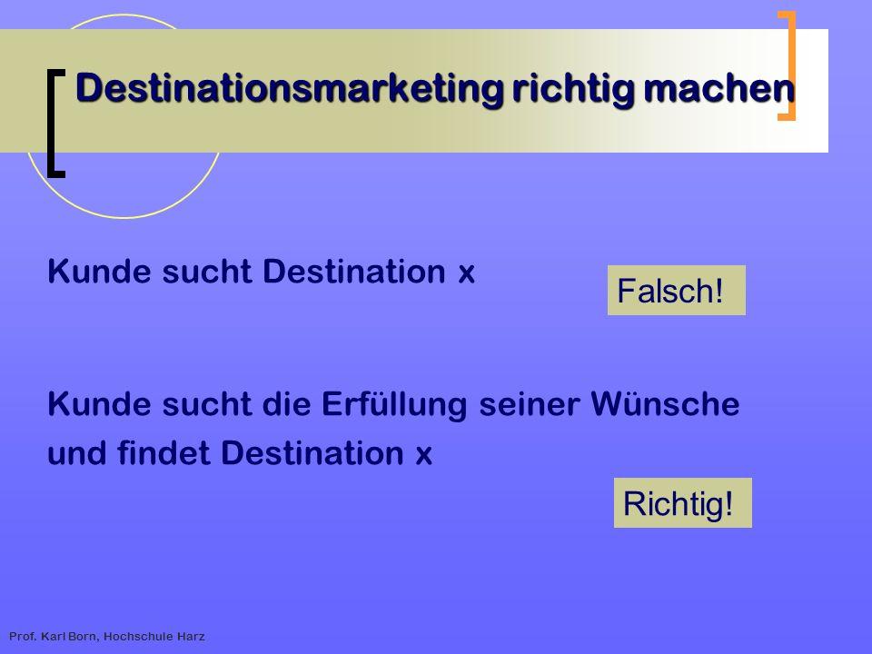 Prof. Karl Born, Hochschule Harz Destinationsmarketing richtig machen Kunde sucht Destination x Kunde sucht die Erfüllung seiner Wünsche und findet De