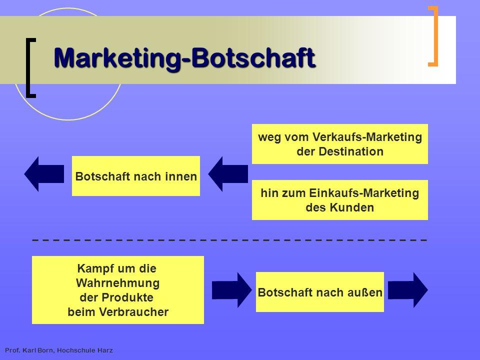 Prof. Karl Born, Hochschule Harz Marketing-Botschaft Botschaft nach innen weg vom Verkaufs-Marketing der Destination hin zum Einkaufs-Marketing des Ku