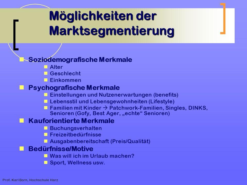 Prof. Karl Born, Hochschule Harz Möglichkeiten der Marktsegmentierung Möglichkeiten der Marktsegmentierung Soziodemografische Merkmale Alter Geschlech