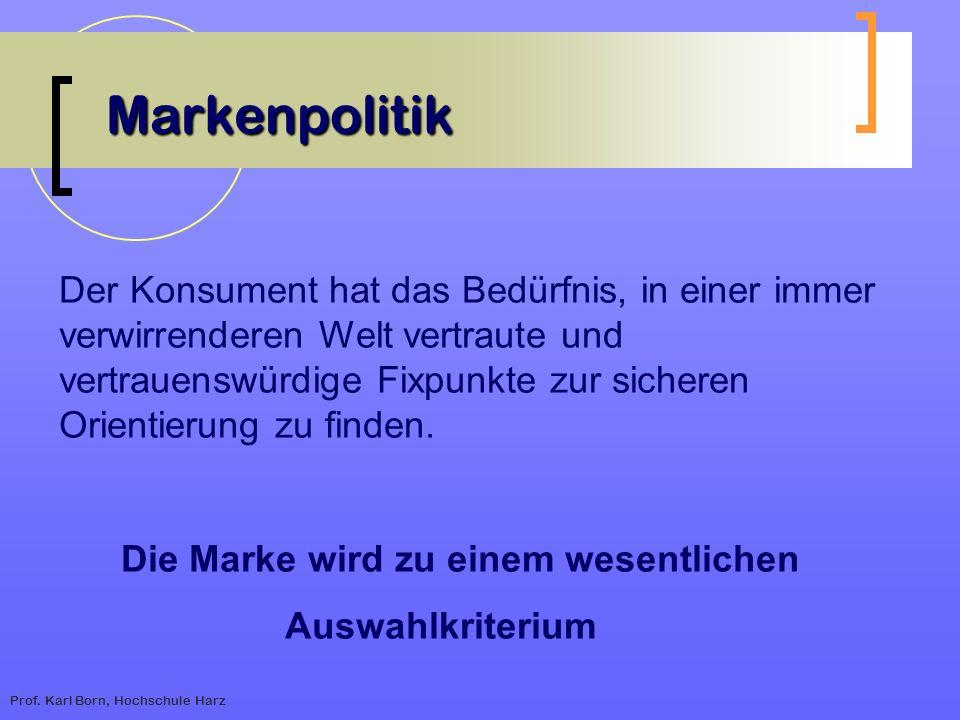 Prof. Karl Born, Hochschule Harz Markenpolitik Der Konsument hat das Bedürfnis, in einer immer verwirrenderen Welt vertraute und vertrauenswürdige Fix