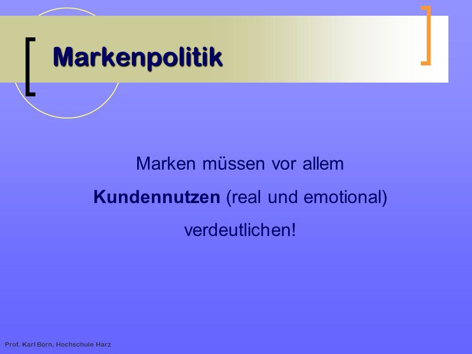 Prof. Karl Born, Hochschule Harz Markenpolitik Marken müssen vor allem Kundennutzen (real und emotional) verdeutlichen!