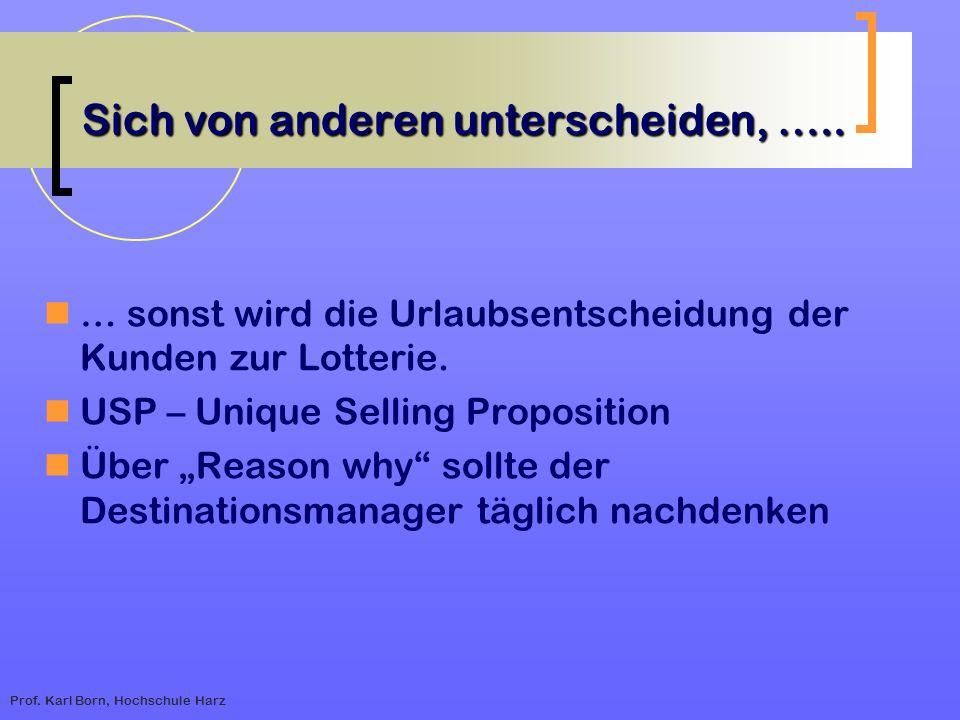 Prof. Karl Born, Hochschule Harz Sich von anderen unterscheiden, ….. … sonst wird die Urlaubsentscheidung der Kunden zur Lotterie. USP – Unique Sellin