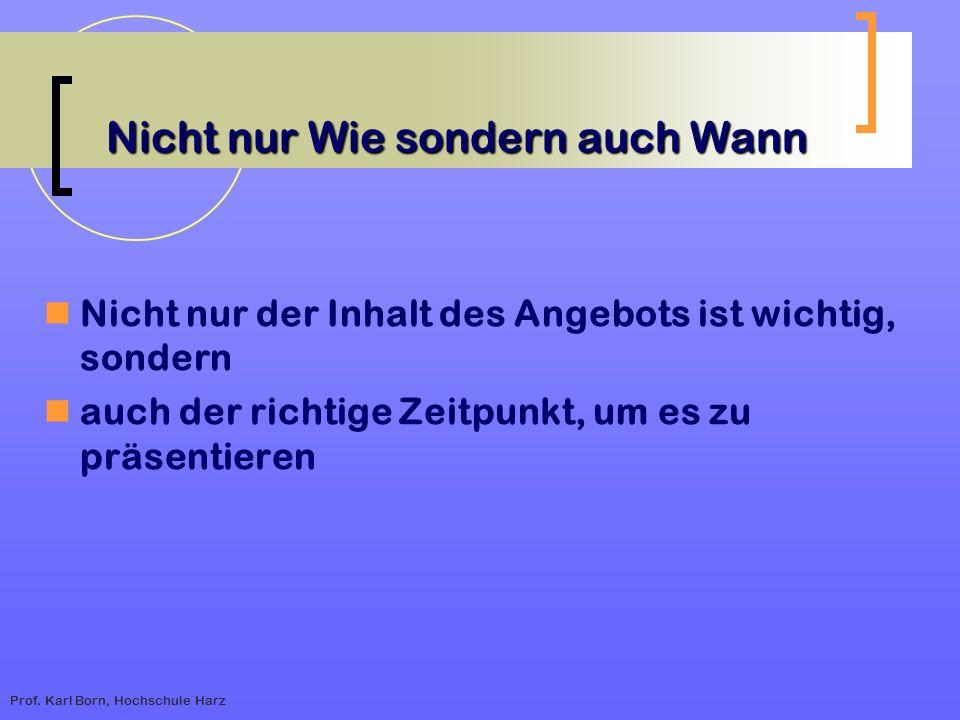 Prof. Karl Born, Hochschule Harz Nicht nur Wie sondern auch Wann Nicht nur der Inhalt des Angebots ist wichtig, sondern auch der richtige Zeitpunkt, u