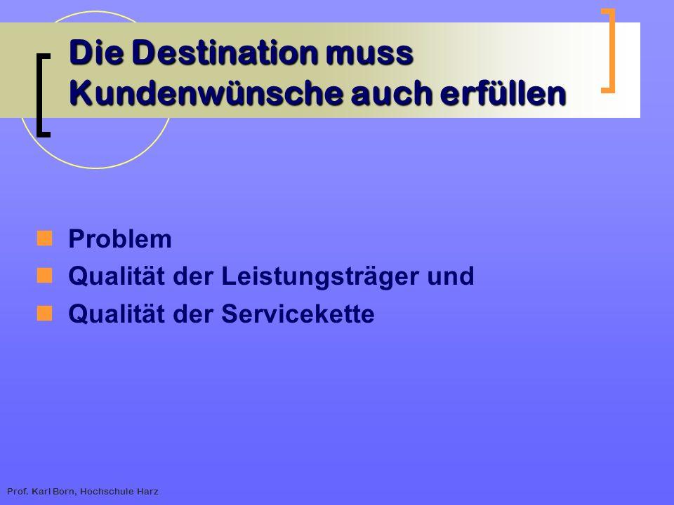 Prof. Karl Born, Hochschule Harz Die Destination muss Kundenwünsche auch erfüllen Problem Qualität der Leistungsträger und Qualität der Servicekette