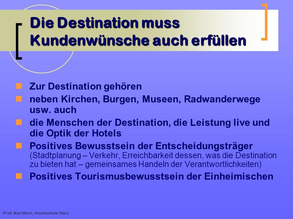 Prof. Karl Born, Hochschule Harz Die Destination muss Kundenwünsche auch erfüllen Zur Destination gehören neben Kirchen, Burgen, Museen, Radwanderwege