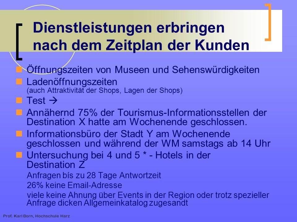 Prof. Karl Born, Hochschule Harz Dienstleistungen erbringen nach dem Zeitplan der Kunden Öffnungszeiten von Museen und Sehenswürdigkeiten Ladenöffnung