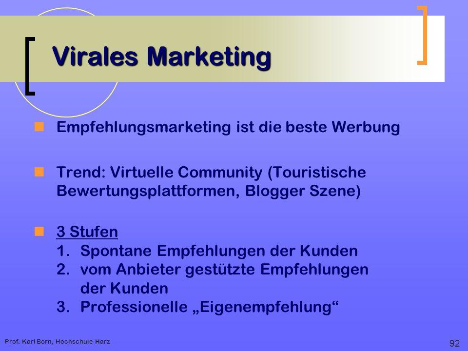 Prof. Karl Born, Hochschule Harz Virales Marketing Empfehlungsmarketing ist die beste Werbung Trend: Virtuelle Community (Touristische Bewertungsplatt
