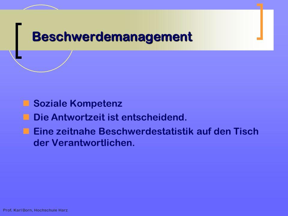 Prof. Karl Born, Hochschule Harz Beschwerdemanagement Soziale Kompetenz Die Antwortzeit ist entscheidend. Eine zeitnahe Beschwerdestatistik auf den Ti