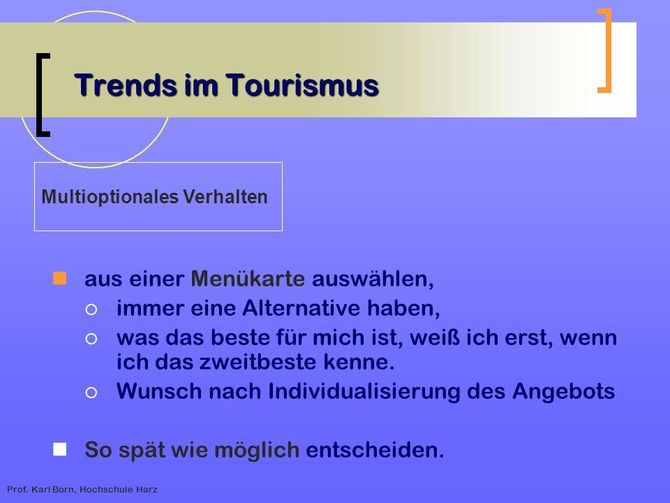 Prof. Karl Born, Hochschule Harz Trends im Tourismus aus einer Menükarte auswählen, immer eine Alternative haben, was das beste für mich ist, weiß ich