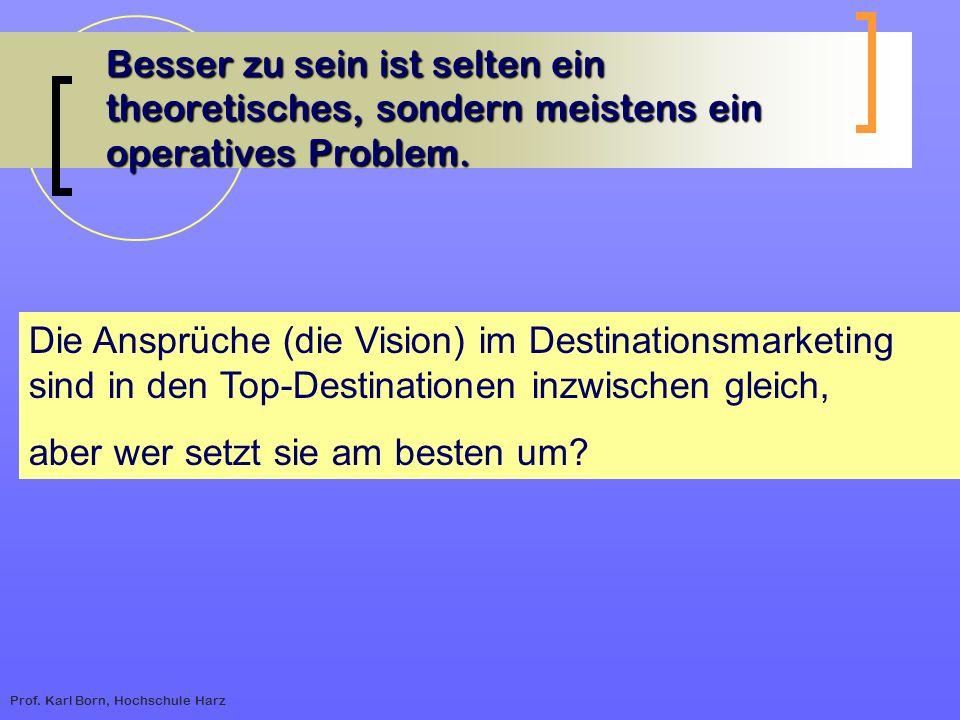 Prof. Karl Born, Hochschule Harz Besser zu sein ist selten ein theoretisches, sondern meistens ein operatives Problem. Die Ansprüche (die Vision) im D