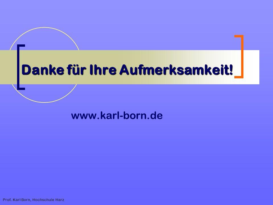 Prof. Karl Born, Hochschule Harz Danke f ü r Ihre Aufmerksamkeit! www.karl-born.de
