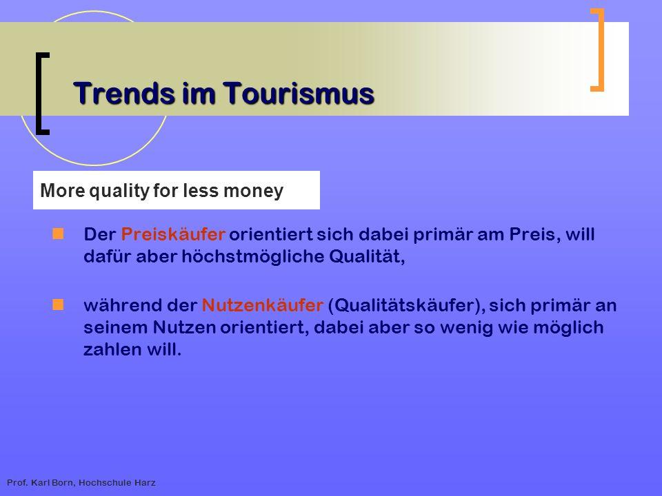 Prof. Karl Born, Hochschule Harz Trends im Tourismus Der Preiskäufer orientiert sich dabei primär am Preis, will dafür aber höchstmögliche Qualität, w