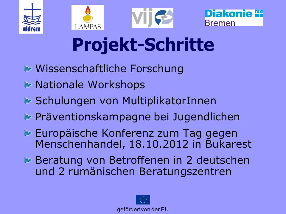 gefördert von der EU Projekt-Schritte Wissenschaftliche Forschung Nationale Workshops Schulungen von MultiplikatorInnen Präventionskampagne bei Jugend