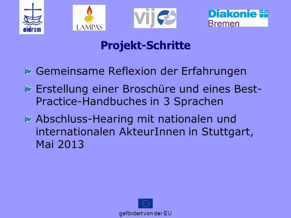 gefördert von der EU Projekt-Schritte Gemeinsame Reflexion der Erfahrungen Erstellung einer Broschüre und eines Best- Practice-Handbuches in 3 Sprache