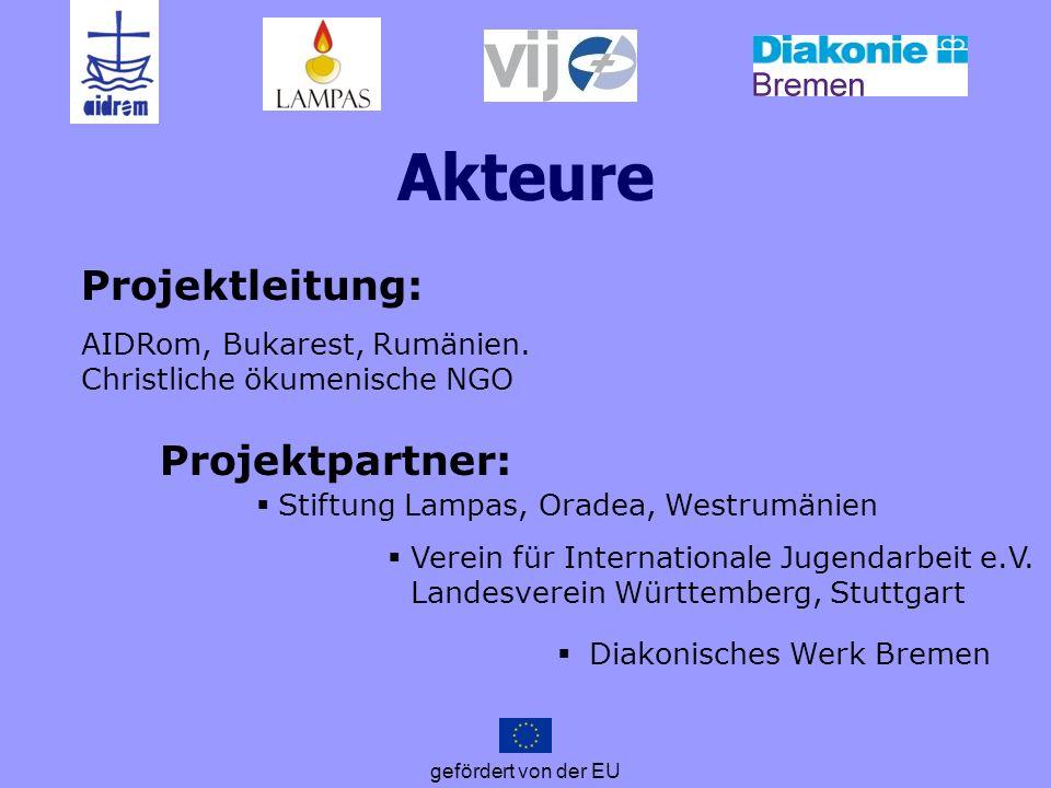 gefördert von der EU Projekt-Schritte Wissenschaftliche Forschung Nationale Workshops Schulungen von MultiplikatorInnen Präventionskampagne bei Jugendlichen Europäische Konferenz zum Tag gegen Menschenhandel, 18.10.2012 in Bukarest Beratung von Betroffenen in 2 deutschen und 2 rumänischen Beratungszentren