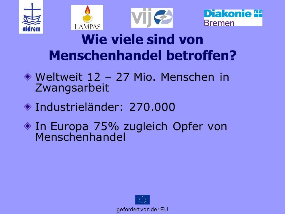 gefördert von der EU Wie viele sind von Menschenhandel betroffen? Weltweit 12 – 27 Mio. Menschen in Zwangsarbeit Industrieländer: 270.000 In Europa 75