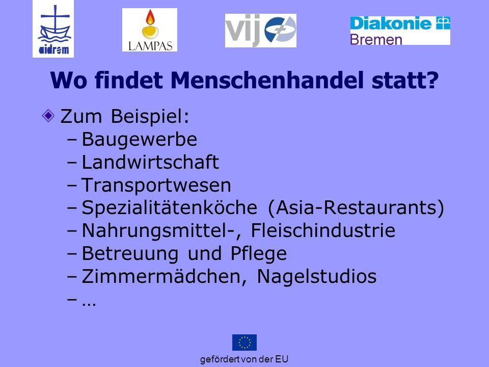 gefördert von der EU Wo findet Menschenhandel statt? Zum Beispiel: –Baugewerbe –Landwirtschaft –Transportwesen –Spezialitätenköche (Asia-Restaurants)