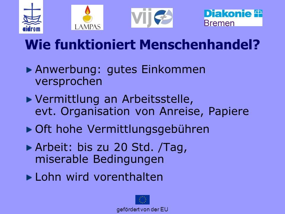 gefördert von der EU …zum Beispiel: Betreuungskräfte Erfahrungen aus der FairCare-Beratung im Fraueninformationszentrum FIZ, Stuttgart