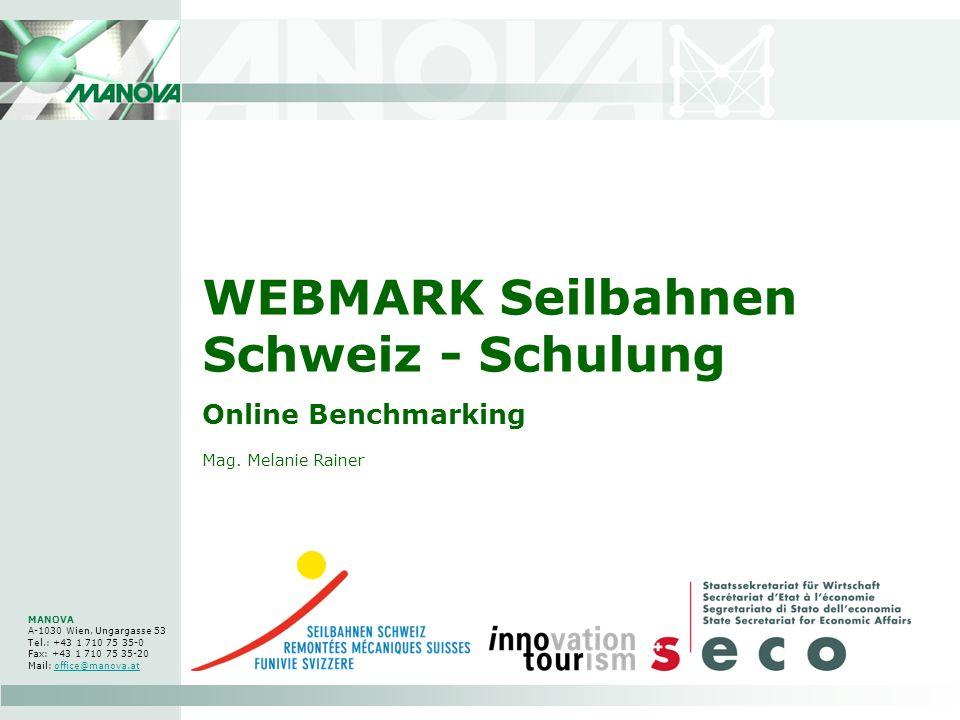 WEBMARK Seilbahnen Schweiz - Schulung Online Benchmarking MANOVA A-1030 Wien, Ungargasse 53 Tel.: +43 1 710 75 35-0 Fax: +43 1 710 75 35-20 Mail: offi