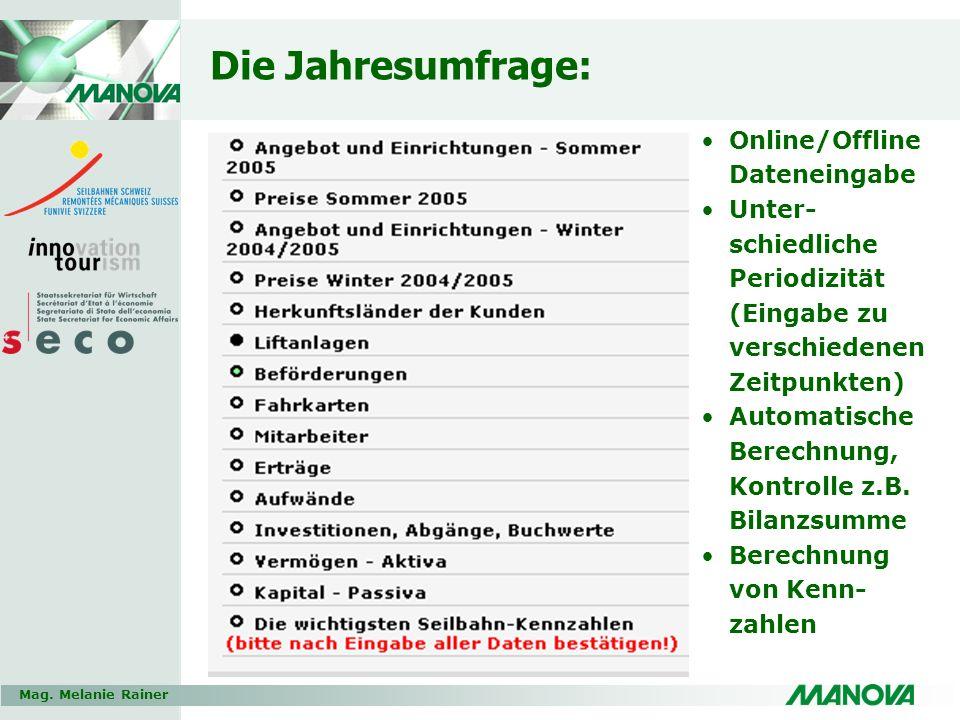 Mag. Melanie Rainer Die Jahresumfrage: Online/Offline Dateneingabe Unter- schiedliche Periodizität (Eingabe zu verschiedenen Zeitpunkten) Automatische
