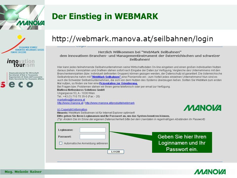 Mag. Melanie Rainer Der Einstieg in WEBMARK http://webmark.manova.at/seilbahnen/login Geben Sie hier Ihren Loginnamen und Ihr Passwort ein.