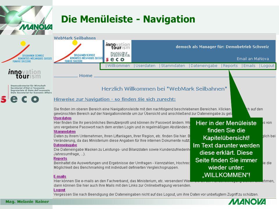 Mag. Melanie Rainer Die Menüleiste - Navigation Hier in der Menüleiste finden Sie die Kapitelübersicht! Im Text darunter werden diese erklärt. Diese S