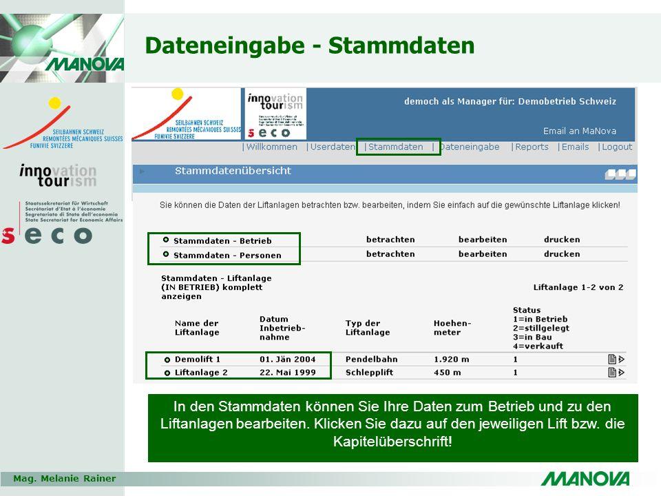 Mag. Melanie Rainer Dateneingabe - Stammdaten In den Stammdaten können Sie Ihre Daten zum Betrieb und zu den Liftanlagen bearbeiten. Klicken Sie dazu