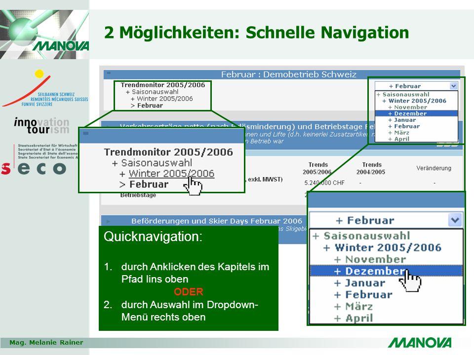 Mag. Melanie Rainer 2 Möglichkeiten: Schnelle Navigation Quicknavigation: 1.durch Anklicken des Kapitels im Pfad lins oben ODER 2.durch Auswahl im Dro