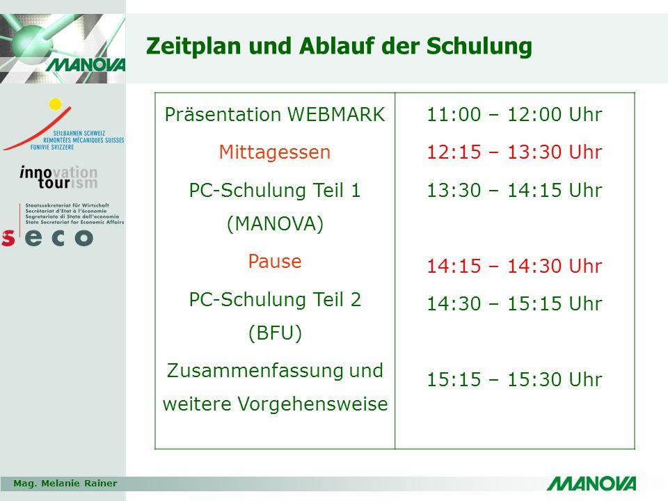 Mag. Melanie Rainer Zeitplan und Ablauf der Schulung Präsentation WEBMARK Mittagessen PC-Schulung Teil 1 (MANOVA) Pause PC-Schulung Teil 2 (BFU) Zusam