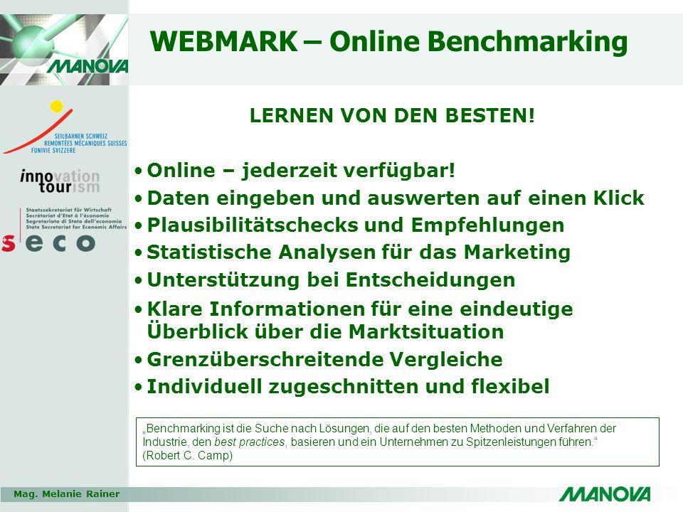 Mag. Melanie Rainer WEBMARK – Online Benchmarking LERNEN VON DEN BESTEN! Online – jederzeit verfügbar! Daten eingeben und auswerten auf einen Klick Pl