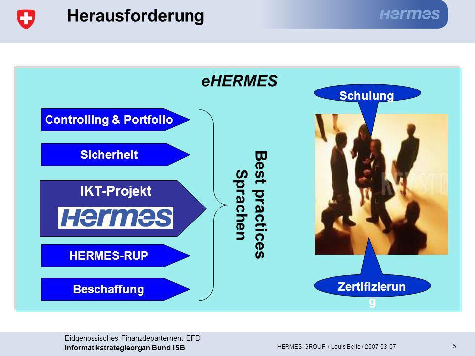 6 Eidgenössisches Finanzdepartement EFD Informatikstrategieorgan Bund ISB HERMES GROUP / Louis Belle / 2007-03-07 Zielerreichung 2006 Quelle: Organisationshandbuch